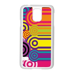 Retro Circles And Stripes Colorful 60s And 70s Style Circles And Stripes Background Samsung Galaxy S5 Case (White)