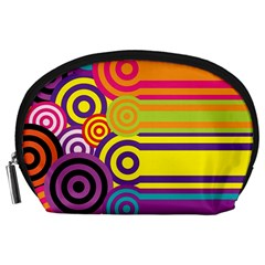 Retro Circles And Stripes Colorful 60s And 70s Style Circles And Stripes Background Accessory Pouches (Large)