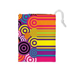 Retro Circles And Stripes Colorful 60s And 70s Style Circles And Stripes Background Drawstring Pouches (medium)