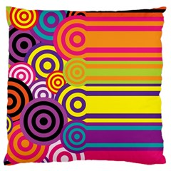 Retro Circles And Stripes Colorful 60s And 70s Style Circles And Stripes Background Large Flano Cushion Case (Two Sides)
