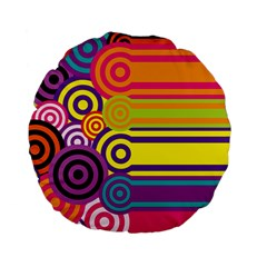 Retro Circles And Stripes Colorful 60s And 70s Style Circles And Stripes Background Standard 15  Premium Flano Round Cushions