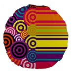 Retro Circles And Stripes Colorful 60s And 70s Style Circles And Stripes Background Large 18  Premium Flano Round Cushions Back