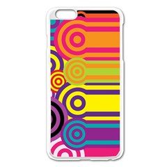Retro Circles And Stripes Colorful 60s And 70s Style Circles And Stripes Background Apple iPhone 6 Plus/6S Plus Enamel White Case