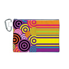 Retro Circles And Stripes Colorful 60s And 70s Style Circles And Stripes Background Canvas Cosmetic Bag (M)