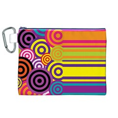 Retro Circles And Stripes Colorful 60s And 70s Style Circles And Stripes Background Canvas Cosmetic Bag (XL)