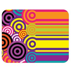 Retro Circles And Stripes Colorful 60s And 70s Style Circles And Stripes Background Double Sided Flano Blanket (Medium)