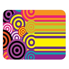 Retro Circles And Stripes Colorful 60s And 70s Style Circles And Stripes Background Double Sided Flano Blanket (Large)