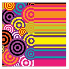 Retro Circles And Stripes Colorful 60s And 70s Style Circles And Stripes Background Large Satin Scarf (Square)