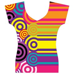 Retro Circles And Stripes Colorful 60s And 70s Style Circles And Stripes Background Women s V-Neck Cap Sleeve Top