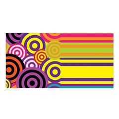 Retro Circles And Stripes Colorful 60s And 70s Style Circles And Stripes Background Satin Shawl