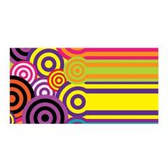Retro Circles And Stripes Colorful 60s And 70s Style Circles And Stripes Background Satin Wrap