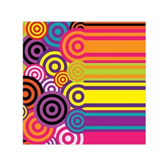 Retro Circles And Stripes Colorful 60s And 70s Style Circles And Stripes Background Small Satin Scarf (square)