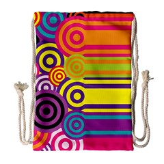 Retro Circles And Stripes Colorful 60s And 70s Style Circles And Stripes Background Drawstring Bag (Large)