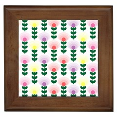 Floral Wallpaer Pattern Bright Bright Colorful Flowers Pattern Wallpaper Background Framed Tiles