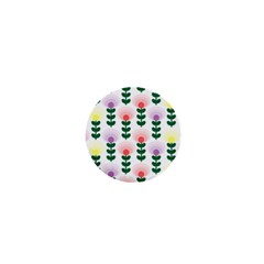 Floral Wallpaer Pattern Bright Bright Colorful Flowers Pattern Wallpaper Background 1  Mini Magnets