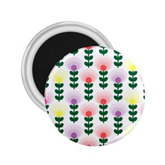 Floral Wallpaer Pattern Bright Bright Colorful Flowers Pattern Wallpaper Background 2.25  Magnets