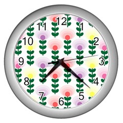 Floral Wallpaer Pattern Bright Bright Colorful Flowers Pattern Wallpaper Background Wall Clocks (Silver)