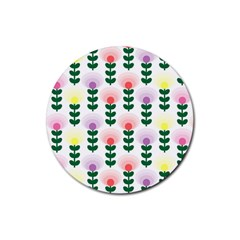 Floral Wallpaer Pattern Bright Bright Colorful Flowers Pattern Wallpaper Background Rubber Round Coaster (4 Pack)