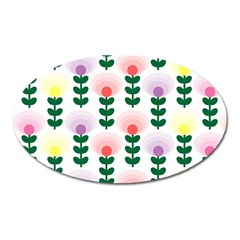 Floral Wallpaer Pattern Bright Bright Colorful Flowers Pattern Wallpaper Background Oval Magnet