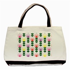 Floral Wallpaer Pattern Bright Bright Colorful Flowers Pattern Wallpaper Background Basic Tote Bag