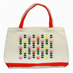 Floral Wallpaer Pattern Bright Bright Colorful Flowers Pattern Wallpaper Background Classic Tote Bag (red)