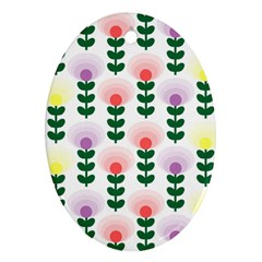 Floral Wallpaer Pattern Bright Bright Colorful Flowers Pattern Wallpaper Background Oval Ornament (two Sides)