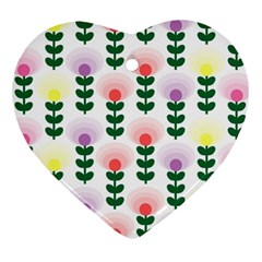 Floral Wallpaer Pattern Bright Bright Colorful Flowers Pattern Wallpaper Background Heart Ornament (Two Sides)