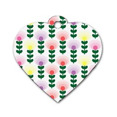 Floral Wallpaer Pattern Bright Bright Colorful Flowers Pattern Wallpaper Background Dog Tag Heart (one Side)