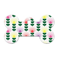 Floral Wallpaer Pattern Bright Bright Colorful Flowers Pattern Wallpaper Background Dog Tag Bone (one Side)