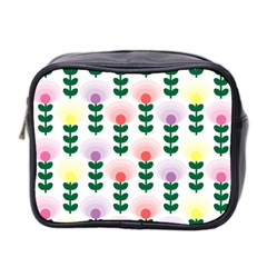 Floral Wallpaer Pattern Bright Bright Colorful Flowers Pattern Wallpaper Background Mini Toiletries Bag 2 Side