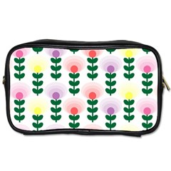 Floral Wallpaer Pattern Bright Bright Colorful Flowers Pattern Wallpaper Background Toiletries Bags 2-Side