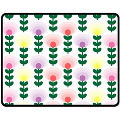 Floral Wallpaer Pattern Bright Bright Colorful Flowers Pattern Wallpaper Background Fleece Blanket (medium)