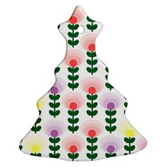 Floral Wallpaer Pattern Bright Bright Colorful Flowers Pattern Wallpaper Background Ornament (Christmas Tree)