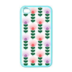 Floral Wallpaer Pattern Bright Bright Colorful Flowers Pattern Wallpaper Background Apple iPhone 4 Case (Color)
