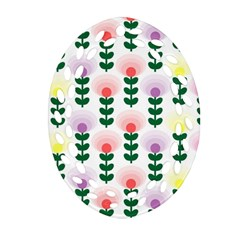 Floral Wallpaer Pattern Bright Bright Colorful Flowers Pattern Wallpaper Background Oval Filigree Ornament (Two Sides)