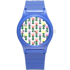 Floral Wallpaer Pattern Bright Bright Colorful Flowers Pattern Wallpaper Background Round Plastic Sport Watch (S)