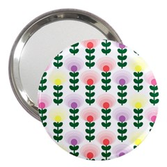 Floral Wallpaer Pattern Bright Bright Colorful Flowers Pattern Wallpaper Background 3  Handbag Mirrors