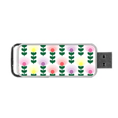Floral Wallpaer Pattern Bright Bright Colorful Flowers Pattern Wallpaper Background Portable USB Flash (Two Sides)