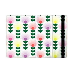 Floral Wallpaer Pattern Bright Bright Colorful Flowers Pattern Wallpaper Background Apple iPad Mini Flip Case
