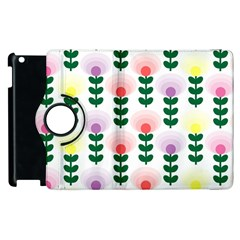 Floral Wallpaer Pattern Bright Bright Colorful Flowers Pattern Wallpaper Background Apple Ipad 2 Flip 360 Case