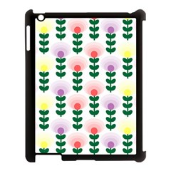 Floral Wallpaer Pattern Bright Bright Colorful Flowers Pattern Wallpaper Background Apple iPad 3/4 Case (Black)