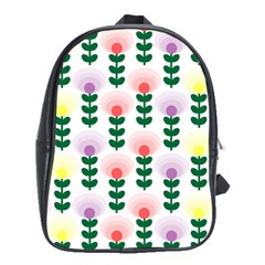 Floral Wallpaer Pattern Bright Bright Colorful Flowers Pattern Wallpaper Background School Bags (XL)