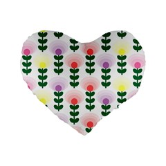 Floral Wallpaer Pattern Bright Bright Colorful Flowers Pattern Wallpaper Background Standard 16  Premium Heart Shape Cushions