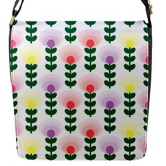 Floral Wallpaer Pattern Bright Bright Colorful Flowers Pattern Wallpaper Background Flap Messenger Bag (S)