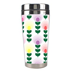 Floral Wallpaer Pattern Bright Bright Colorful Flowers Pattern Wallpaper Background Stainless Steel Travel Tumblers