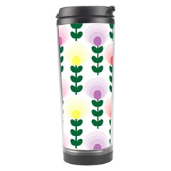 Floral Wallpaer Pattern Bright Bright Colorful Flowers Pattern Wallpaper Background Travel Tumbler
