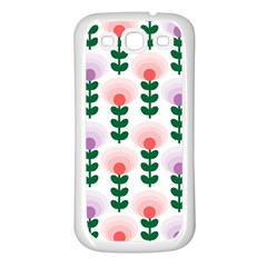 Floral Wallpaer Pattern Bright Bright Colorful Flowers Pattern Wallpaper Background Samsung Galaxy S3 Back Case (White)
