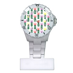 Floral Wallpaer Pattern Bright Bright Colorful Flowers Pattern Wallpaper Background Plastic Nurses Watch