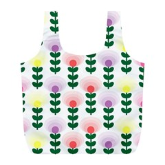 Floral Wallpaer Pattern Bright Bright Colorful Flowers Pattern Wallpaper Background Full Print Recycle Bags (l)