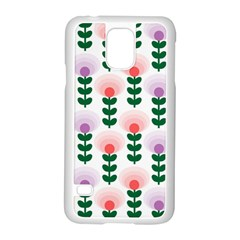 Floral Wallpaer Pattern Bright Bright Colorful Flowers Pattern Wallpaper Background Samsung Galaxy S5 Case (White)